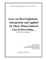 Research Papers 'Laws Are Best Explained, Interpreted, and Applied by Those Whose Interest Lies i', 1.