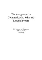 Research Papers 'The Assignment in Communicating with and Leading People', 1.