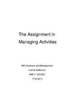 Research Papers 'The Assignment in  Managing Activities', 1.