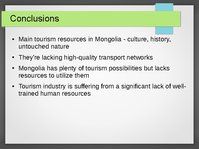 Presentations 'Tourism Development in Mongolia', 16.