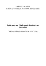 Research Papers 'Baltic States and USA Economic Relations from 2004 to 2016', 1.