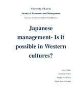 Research Papers 'Japanese Management - Is It Possible in Western Cultures?', 1.