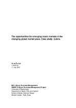 Term Papers 'The Opportunities for Emerging Music Markets in the Changing Global Market Place', 1.