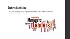 Presentations 'Difference between Leader and Manager', 2.
