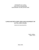 Research Papers 'Language Situation and Language Policy in Latvia and Canada', 1.